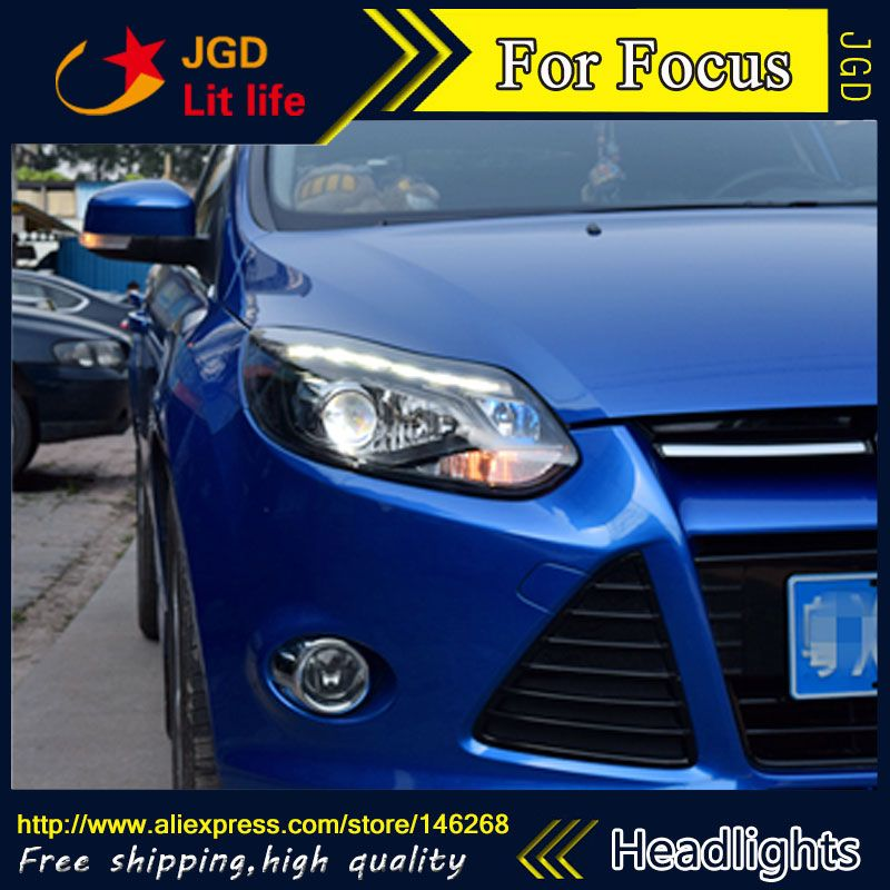 Free Shipping Car Styling Led Hid Rio Led Headlights Head Lamp Case For Ford Focus 2012 2014 Bi Xenon Lens Low Beam Ford Focus Car Lights Led Headlights