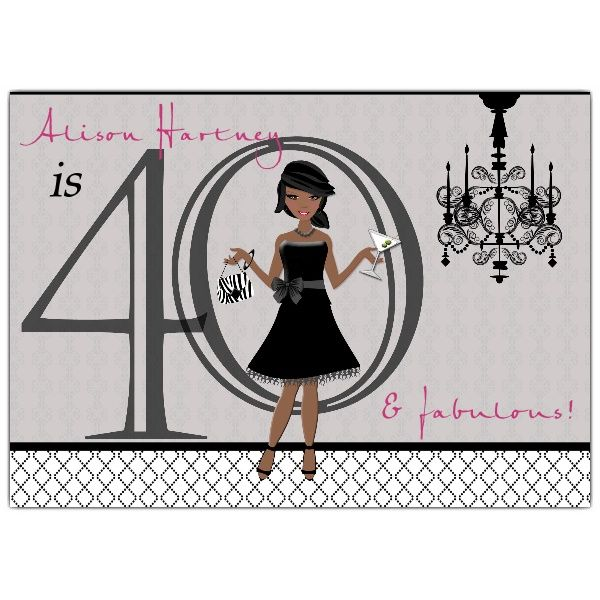 Chic gal african american 40th birthday invitations paperstyle chic gal african american 40th birthday invitations filmwisefo Choice Image