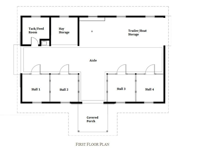 Barn floor plan stall 1 retrofitted as a chicken coop 2 for 4 stall horse barn plans