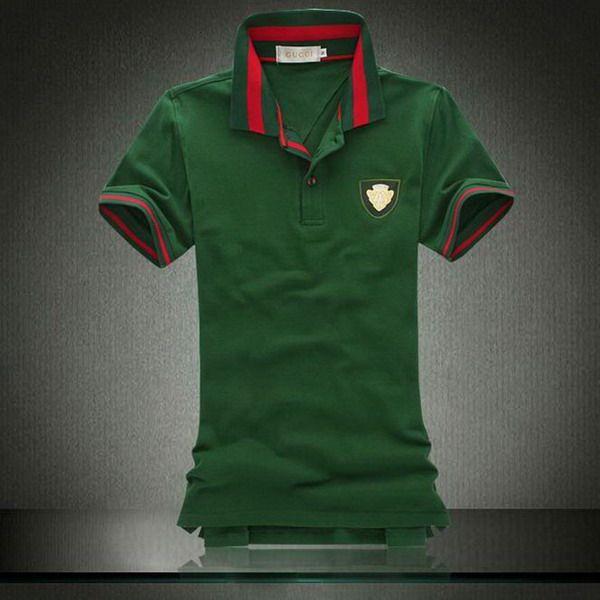 ralph lauren outlet store online Gucci Metal Logo Striped Collar Short  Sleeve Men's Polo Shirt Green