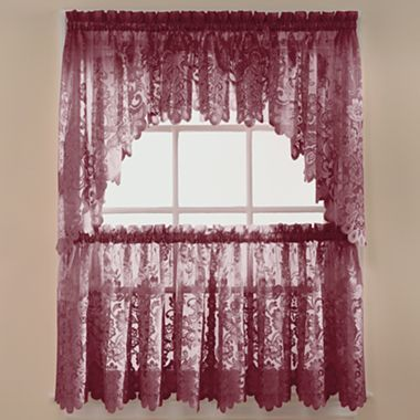 Jcp Home Shari Lace Rod Pocket Window Tier Jcpenney Valance