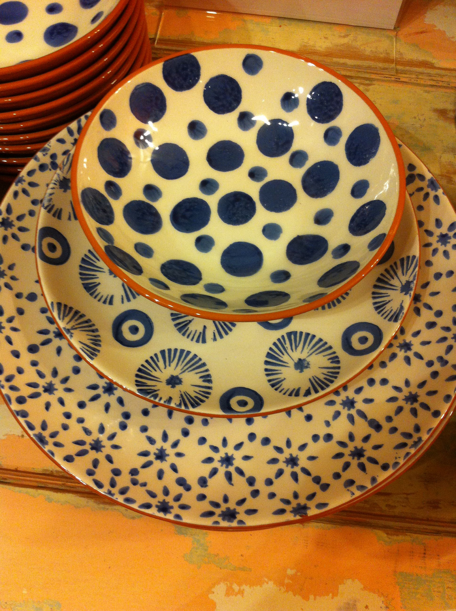 Canvas Home Sponge ware from Portugal. Hand painted dinnerware. : dinnerware from portugal - pezcame.com