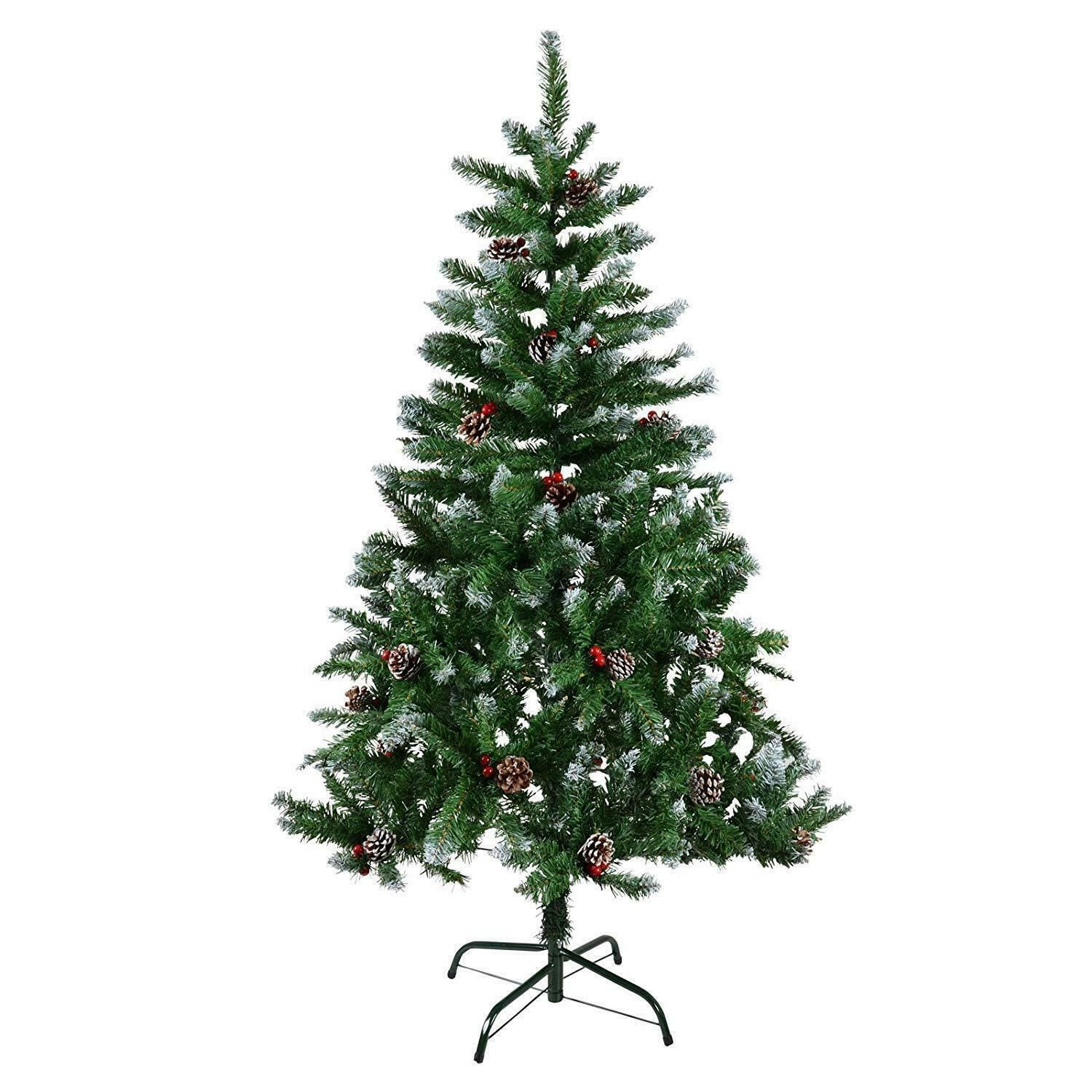 6ft Snow Tipped Red Berries Pine Cone Christmas Tree Traditional Xmas Decoration Ebay Pine Cone Christmas Tree Cone Christmas Trees Xmas Decorations