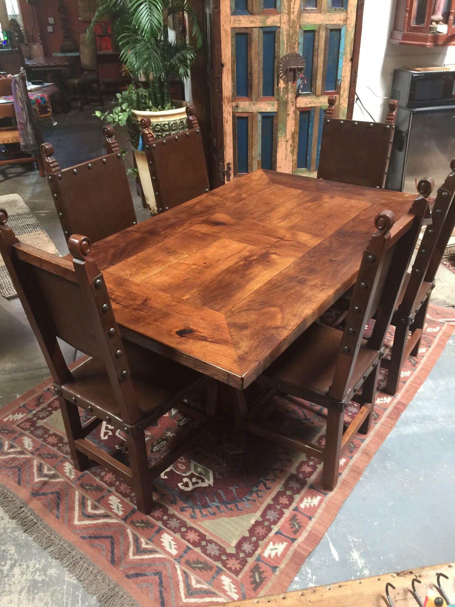Newly Made Mesquite Wood Dining Table Trestle Style Wood Dining