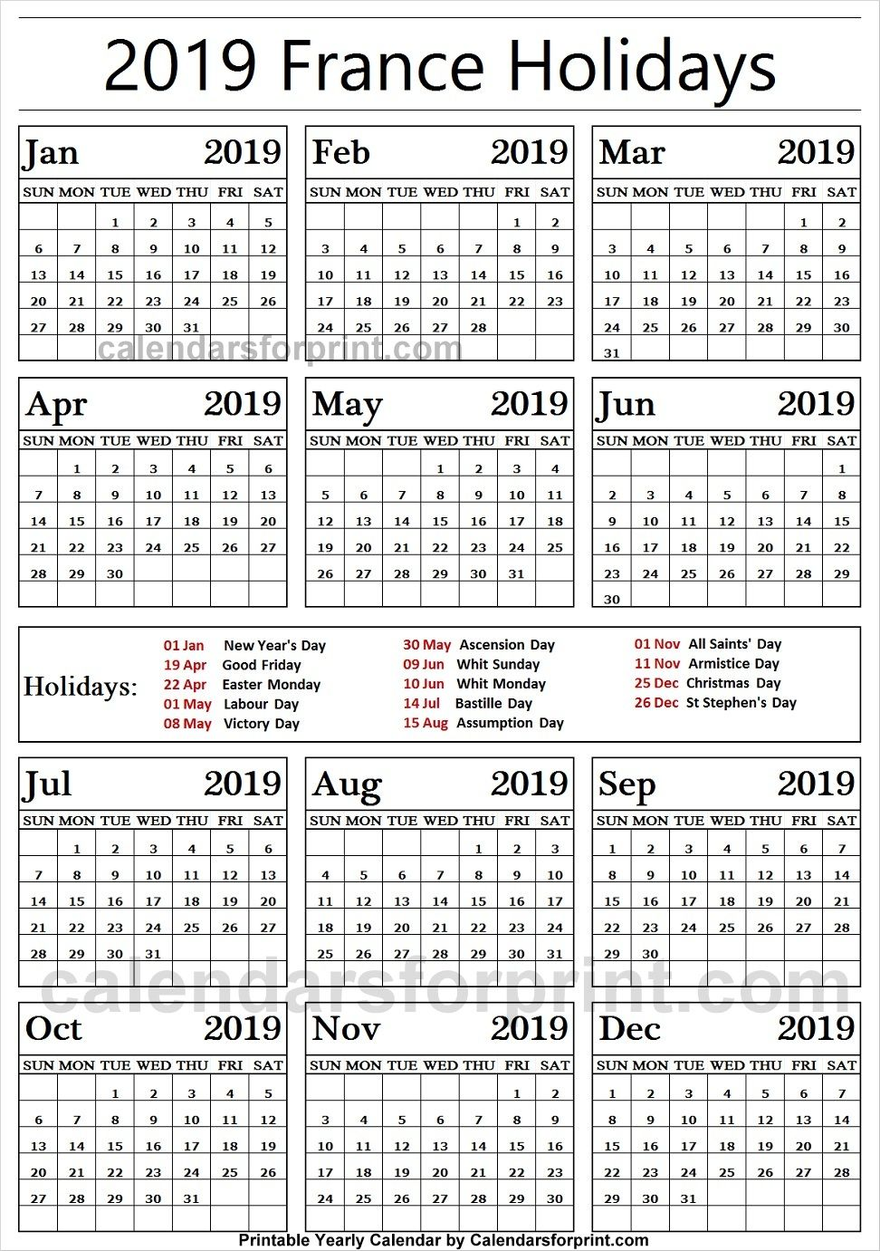 2019 Public Holidays France With Images Holidays France