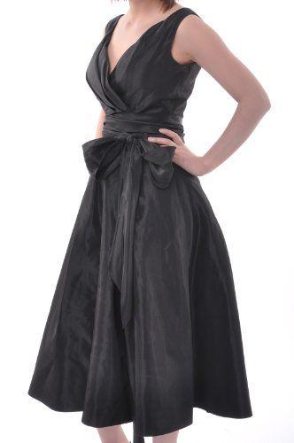 5fca31417279 Plus Size Black Bridesmaid Dresses Tea Length Taffeta Strapless A Line