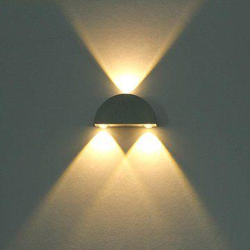 Deckey Modern Warm White 3w High Power 3 Led Up Down Wall Lamp Spot Light Sconce Lighting Semicircle Led Wa Led Outdoor Wall Lights Led Wall Sconce Wall Lights