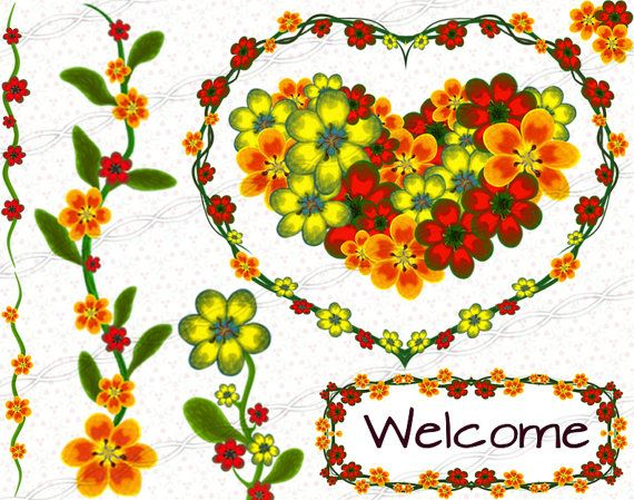 Digital scrapbooking floral clipart frames and borders graphic ...