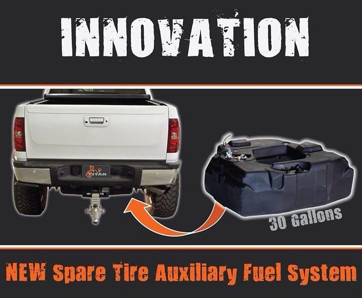 titan fuel tank innovation spare tire auxiliary fuel tank. Black Bedroom Furniture Sets. Home Design Ideas
