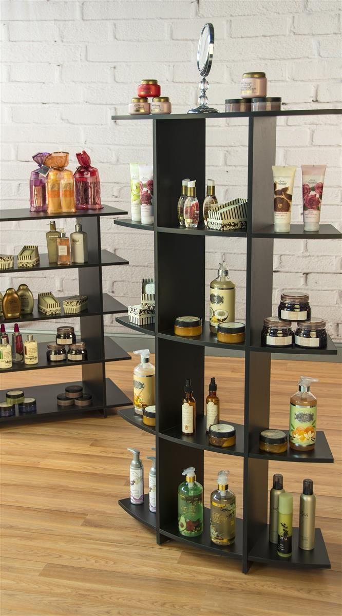 Retail Shelving Unit 5 Contoured Shelves 4 Central Cubbies 8 Side Shelves Black Shelves Retail Shelving Retail Space Design