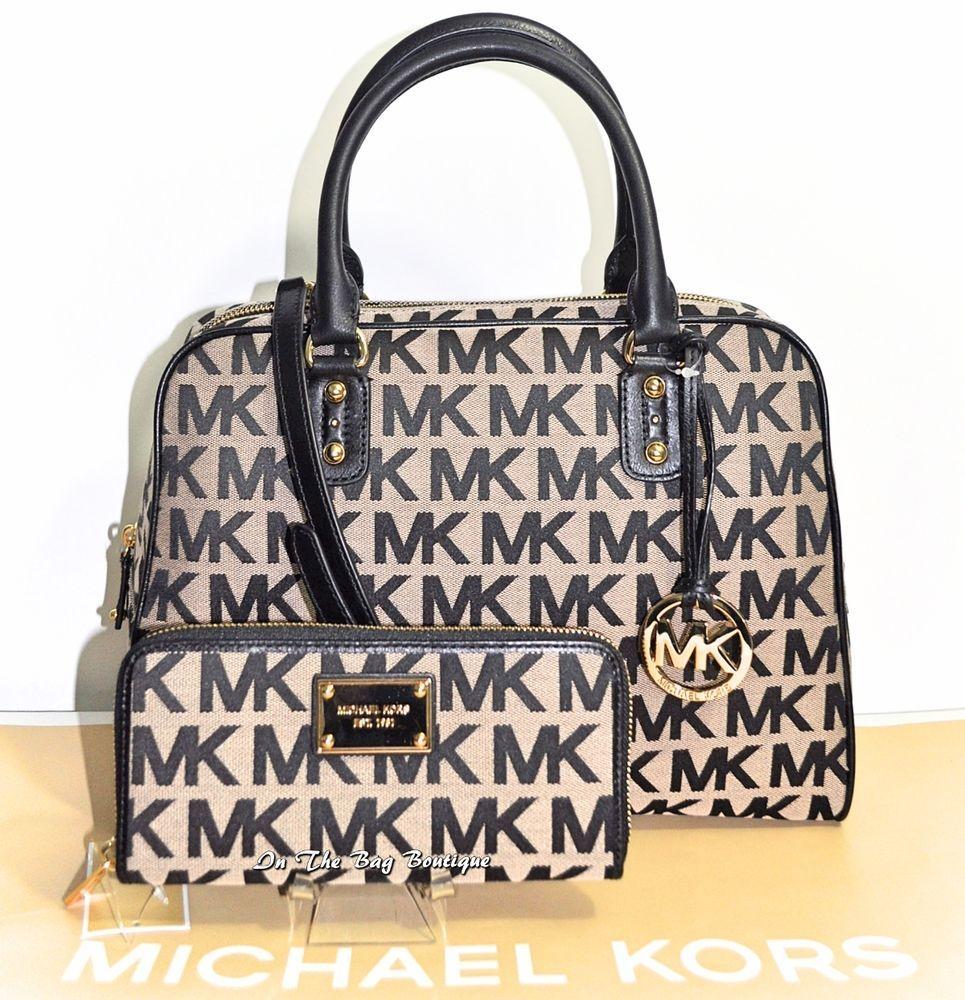 83c7882b628 ... australia michael kors large satchel mk signature shoulder bag purse  wallet set nwt michaelkors shoulderbagsatchel e0b52 ...
