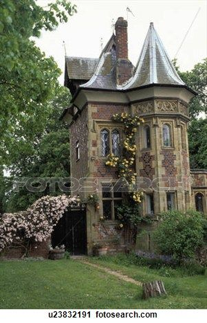 Small lawn in front of Victorian Gothic house View Large Photo ...