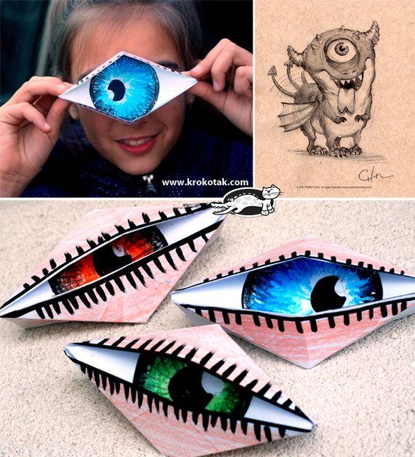 Spooky! Winking eye origami craft for kids! #Halloween #prek #craft (repinned by Super Simple Songs)