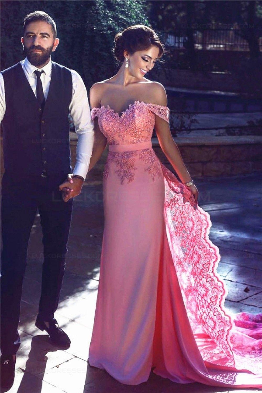 Charming offtheshoulder long pink lace prom evening formal dresses