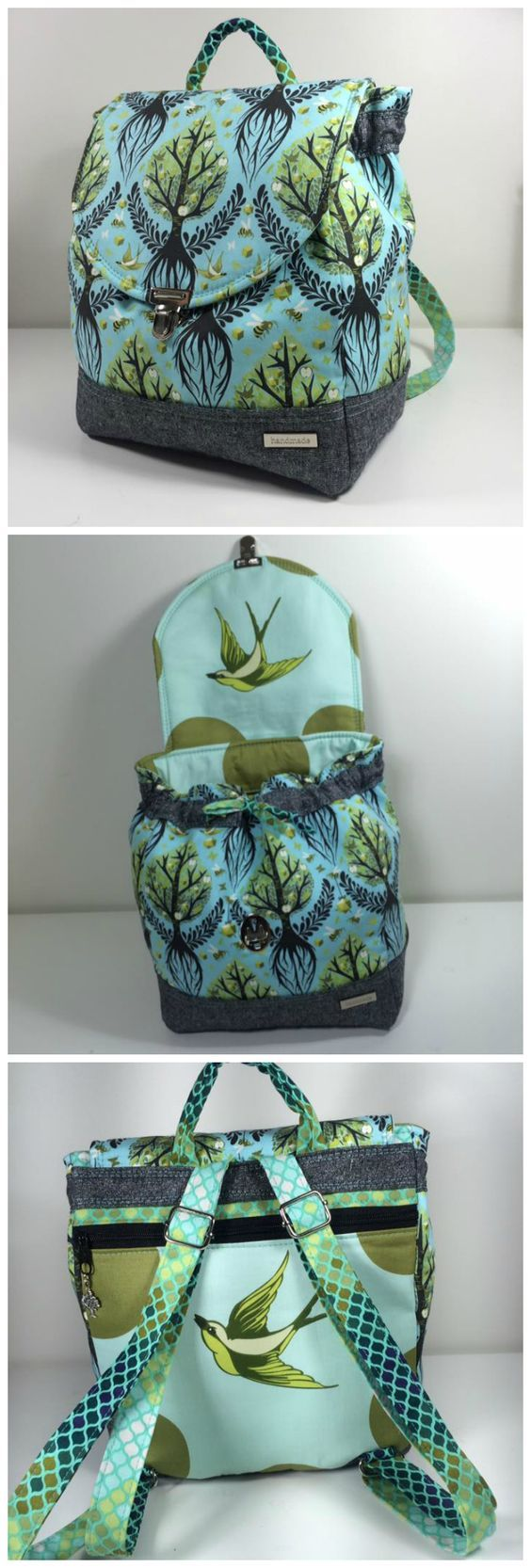 Savannah Backpack sewing pattern from CloBird. This example stitched ...