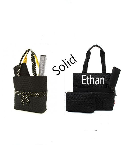 Monogram Black Diaper Bag Twins By Awesomepersonalgifts