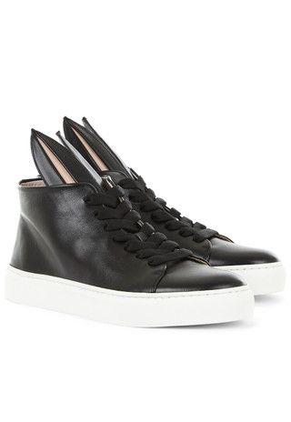 Minna Parikka High Top Bunny Sneakers in Black Nappa