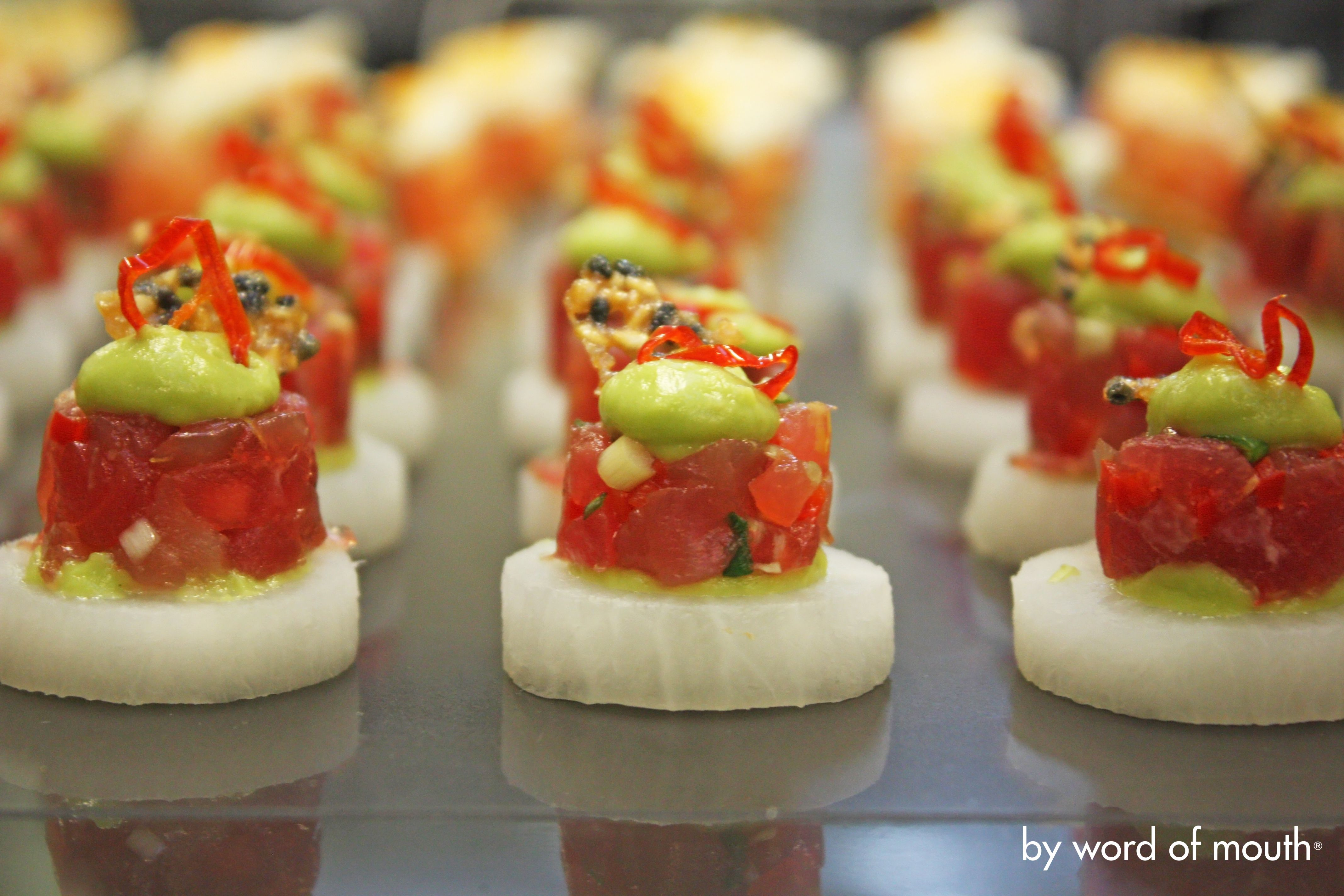 Canape Hh Cold Canape Tuna Tartare With Scallions Ginger And Chilli On