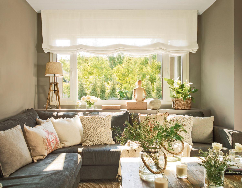 Un sofá que no ocupe tanto salón  Estores salon, Cortinas para