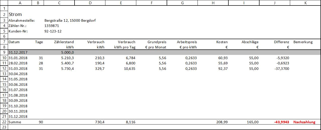Verbrauchskontrolle Mit Excel Strom Wasser Abwasser Gas Abwasser Haushaltsbudget Wasser