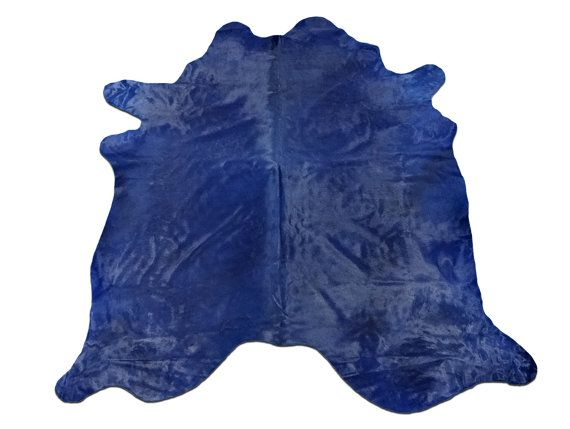 C 1022 Navy Blue Cowhide Rug Dyed Size 8 X 7 By