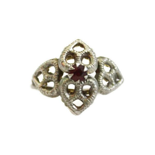 Heart Ring with Ruby Rhinestone In Pewter Tone ($13) ❤ liked on Polyvore featuring jewelry, rings, rhinestone jewelry, heart shaped rings, heart ring, ruby jewellery and heart jewelry