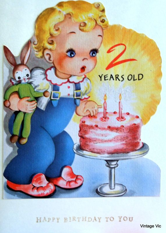 Birthday Card For 2 Year Old Made From Vintage