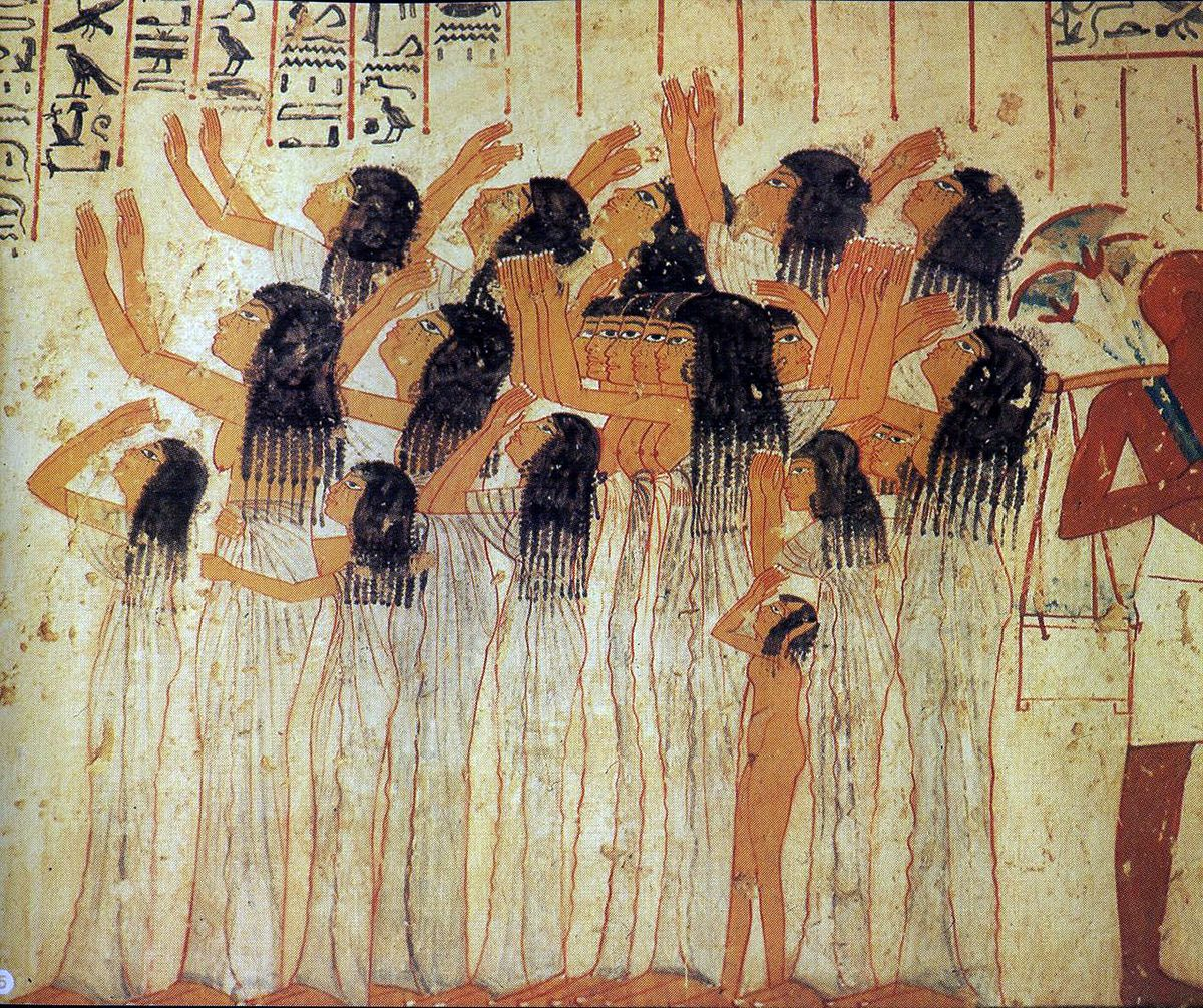 Mourners in an ancient egyptian fresco in the tomb of for Egyptian mural art