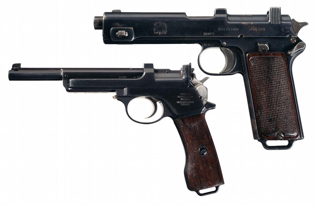 """Automatic Pistols (top)  """"STEYR 1912 MOD. 1911""""                                   (bottom) """" MANNLICHER / Md. 1905 / WAFFENFABRIK """""""