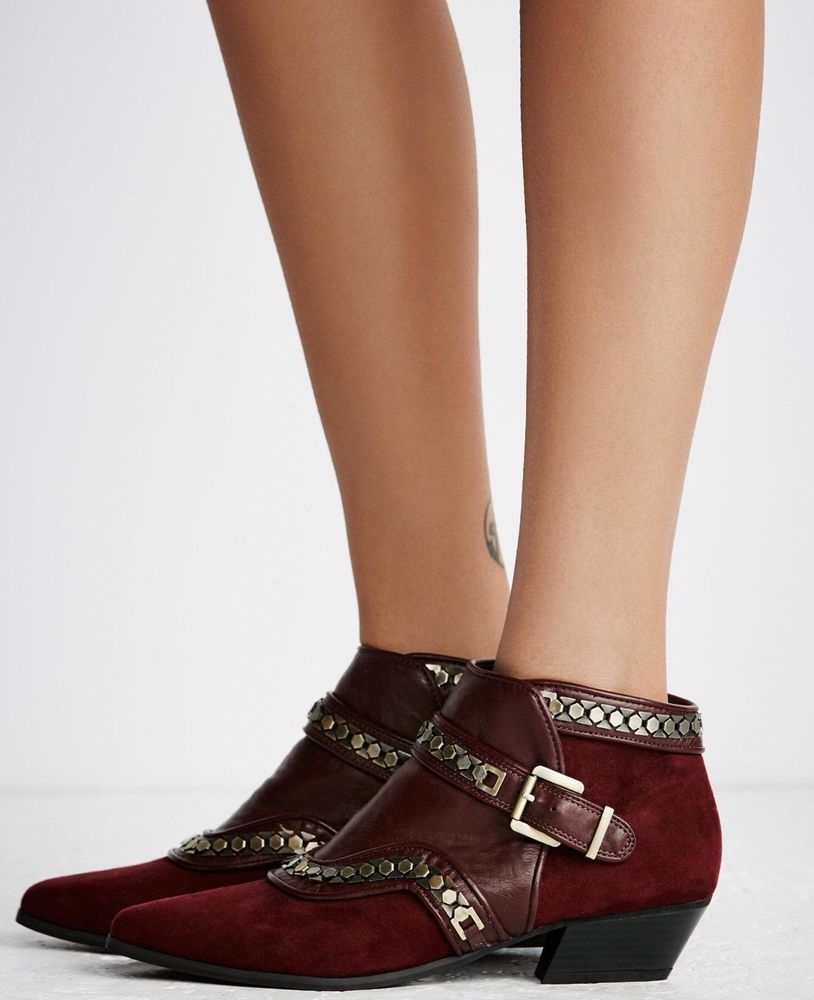 f203002cc NEW Free People Valor Vegan Ankle Boots Size 6 Studded Burgundy Red    Clothing, Shoes & Accessories, Women's Shoes, Boots   eBay!