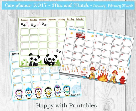 sale calendar 2017 printables cute planner by happywithprintables