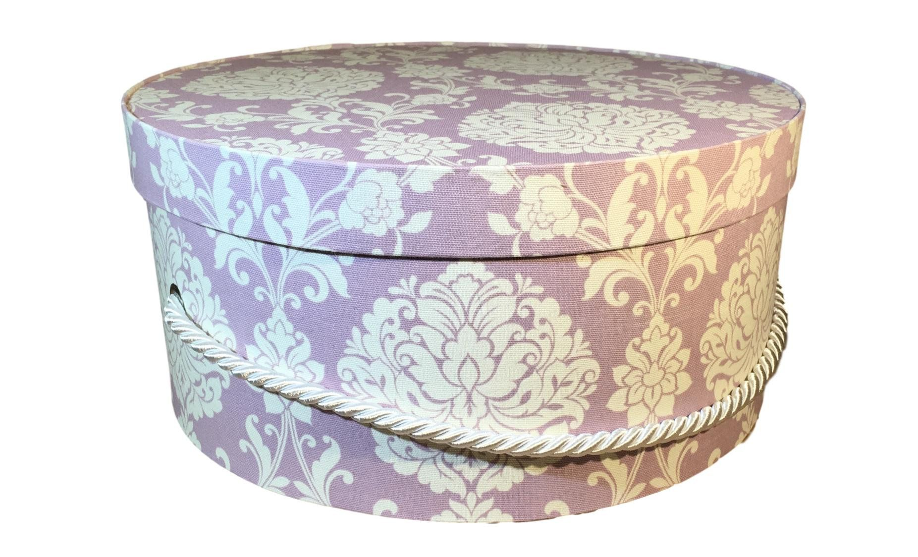 Hat Box In Purple And White Damask Large Decorative Fabric Covered Hat Boxes Round Storage Box Keepsake Boxes With Lid Fabric Decor Hat Boxes White Damask
