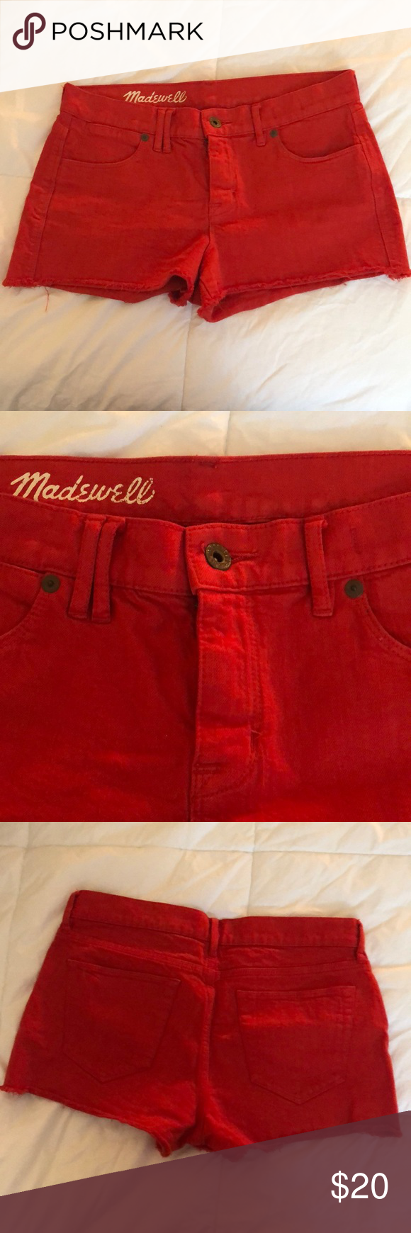 Madewell Red ❗️Denim Cutoff Shorts Size 27 Excellent used condition  Color is close to stop sign red 2 inch inseam  Bronze hardware  No holes, stains, or piling  Smoke free home Madewell Shorts Jean Shorts #denimcutoffshorts