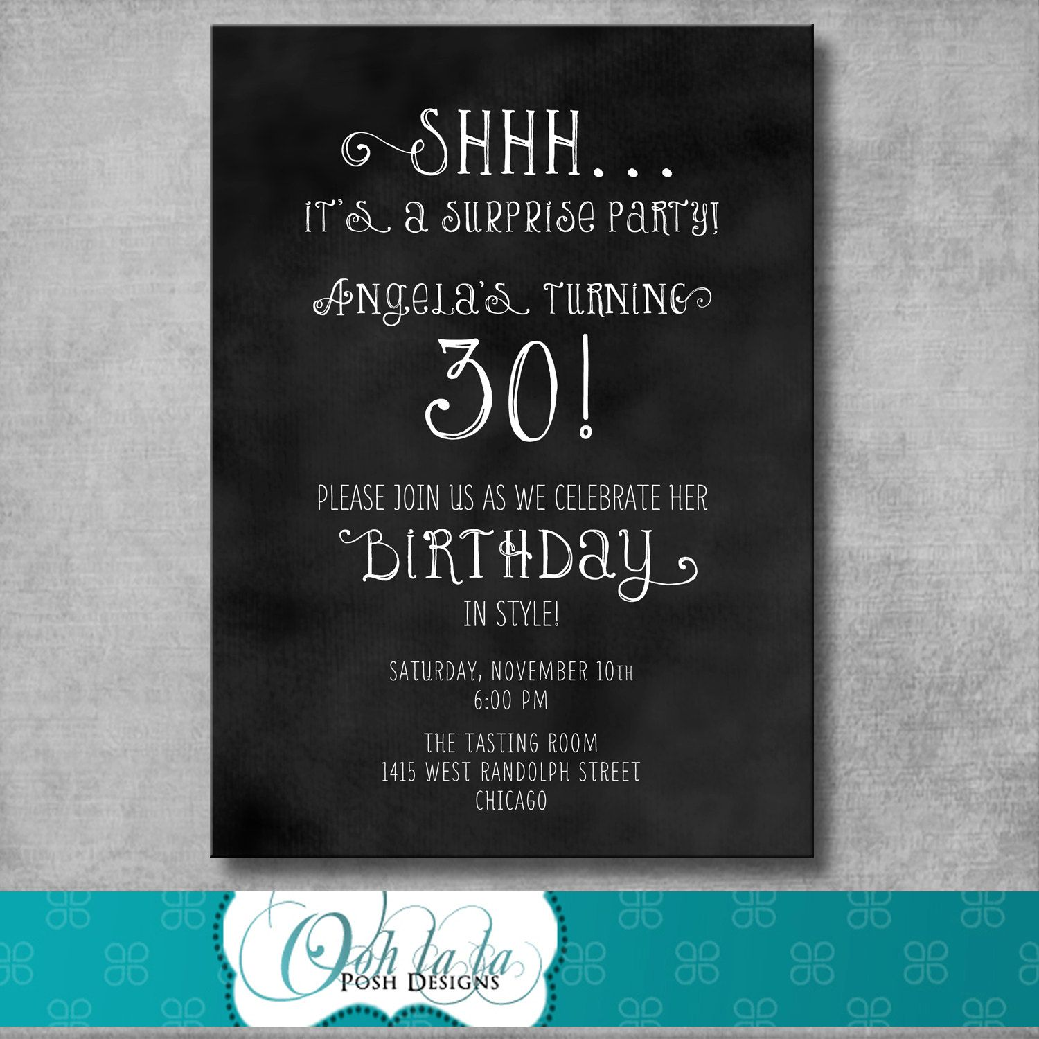 Printable Adult Surprise Birthday Party Invitation