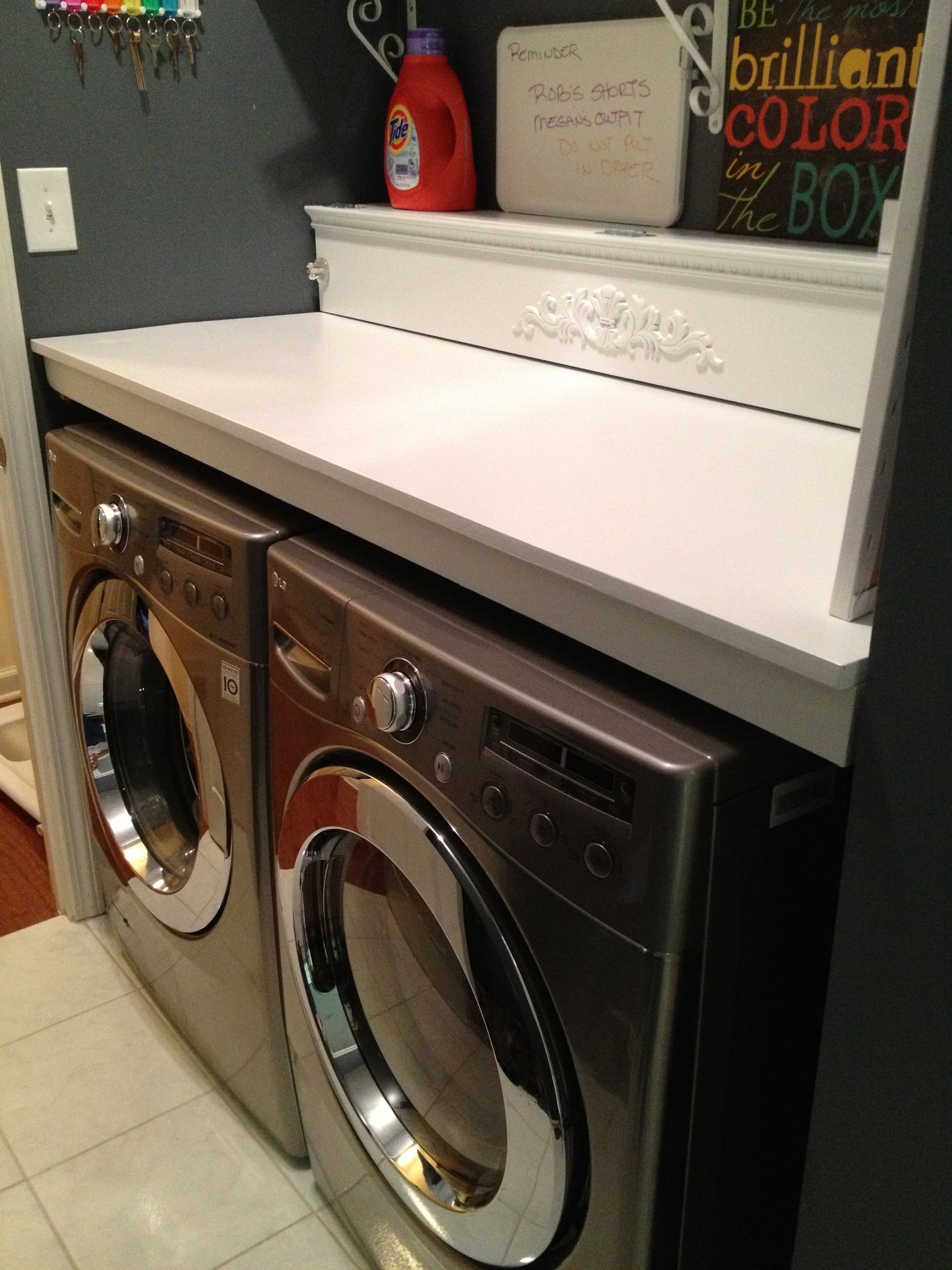 custom counter over washer and dryer removable for the home pinterest washer laundry. Black Bedroom Furniture Sets. Home Design Ideas