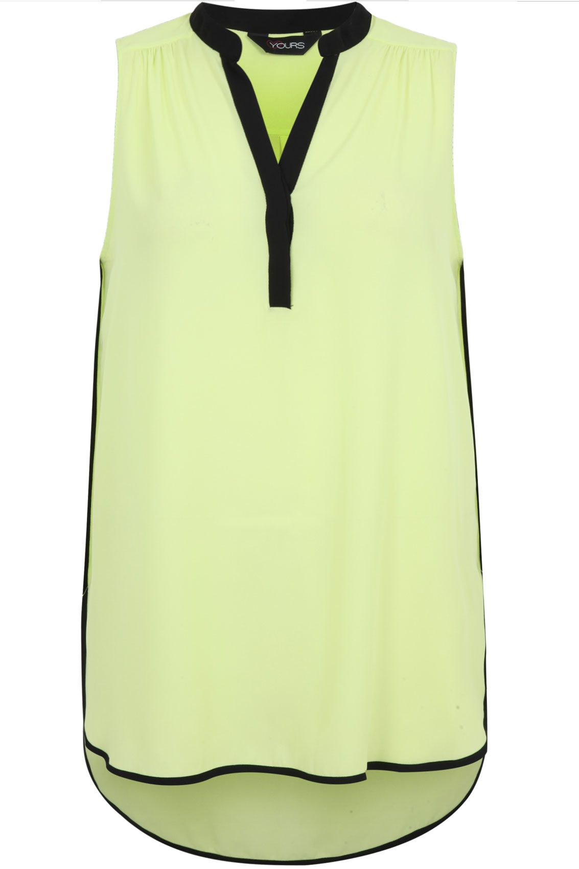 Black and lime contrast trim sleeveless blouse creative career