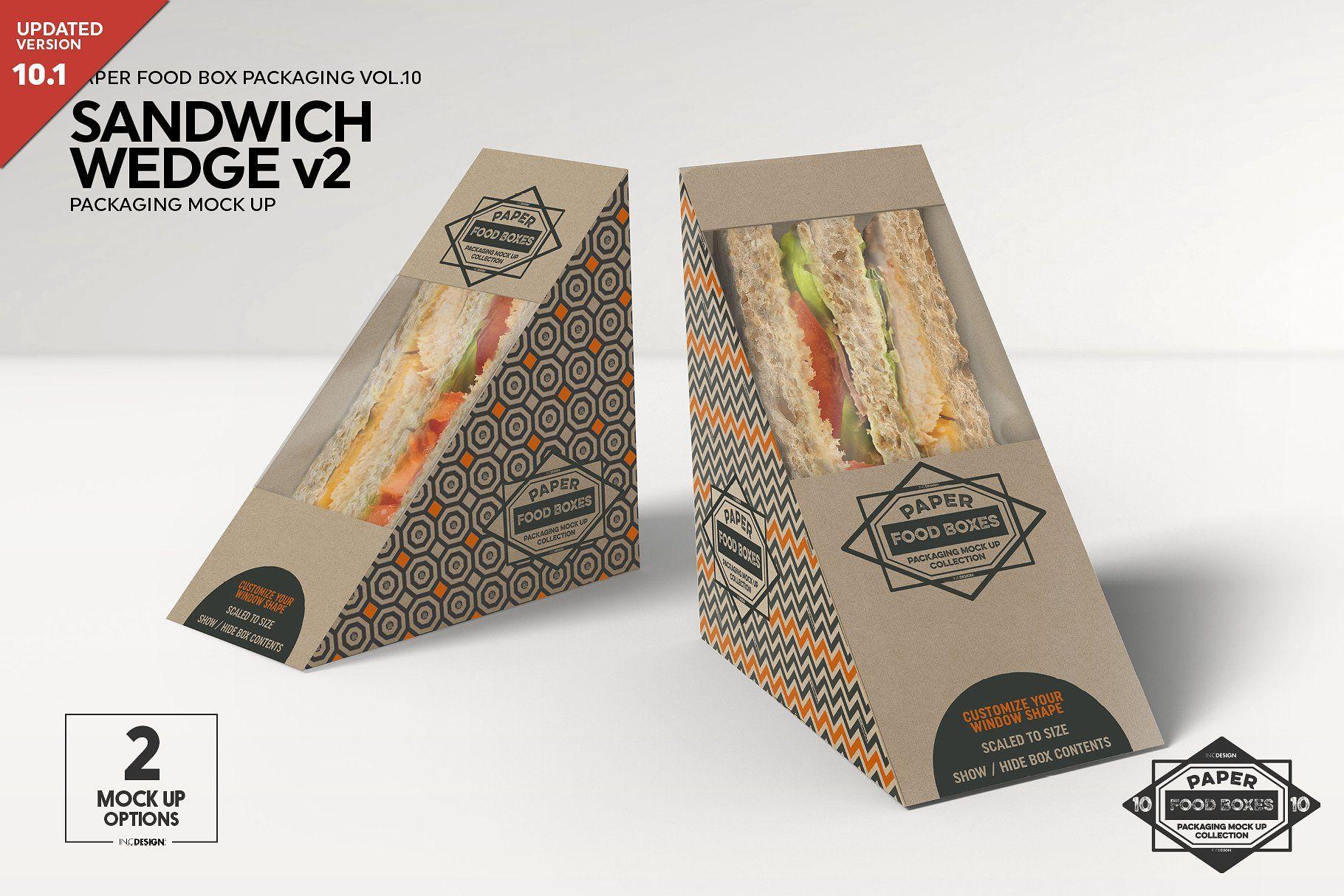 Download Sandwich Wedge Box V2 Mockup Free Packaging Mockup Food Box Packaging Packaging Mockup