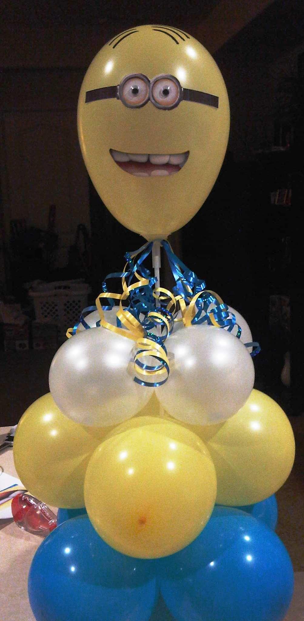 Minion centerpiece balloon columns pinterest