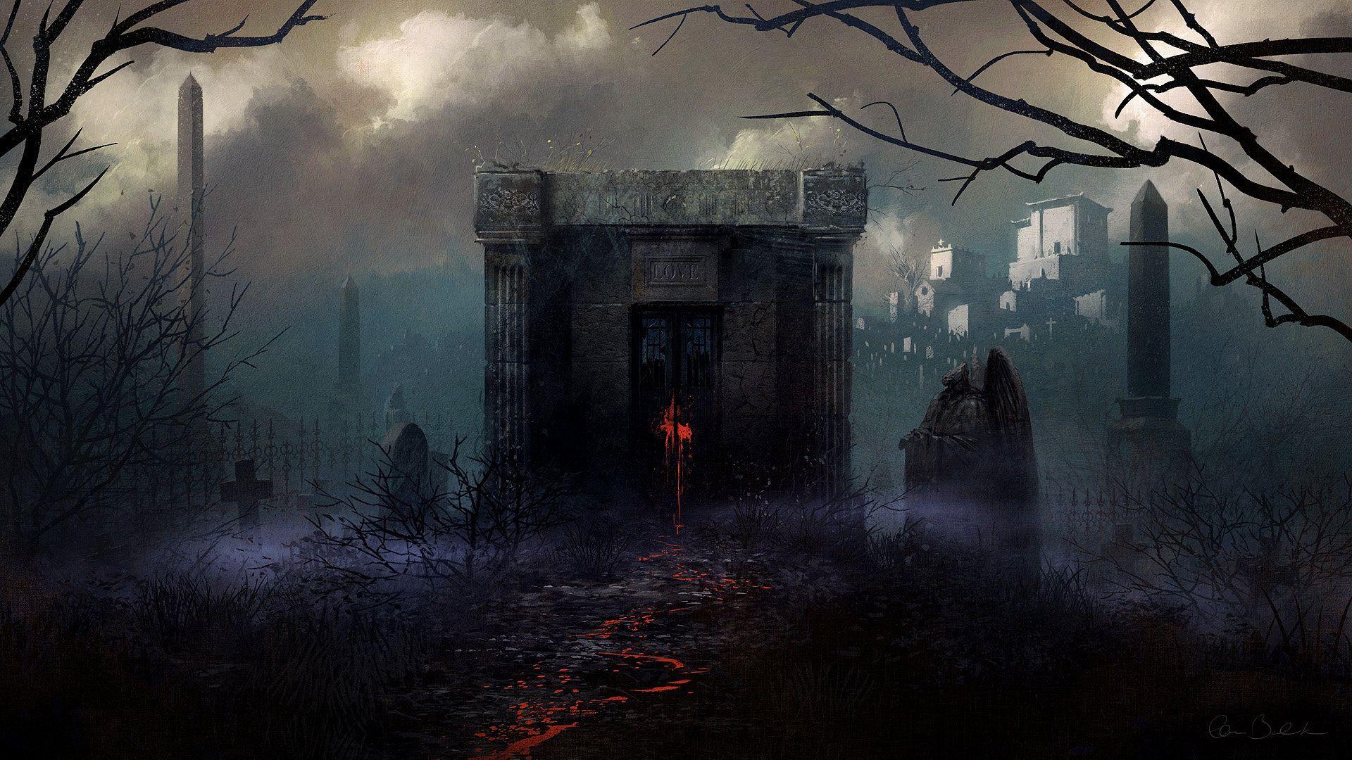 Necropolis Christopher Balaskas Scary Halloween Backgrounds Halloween Backgrounds Fantasy World
