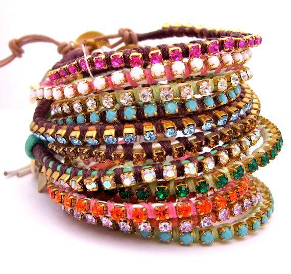 Rhinestone and Leather Wrap Bracelets