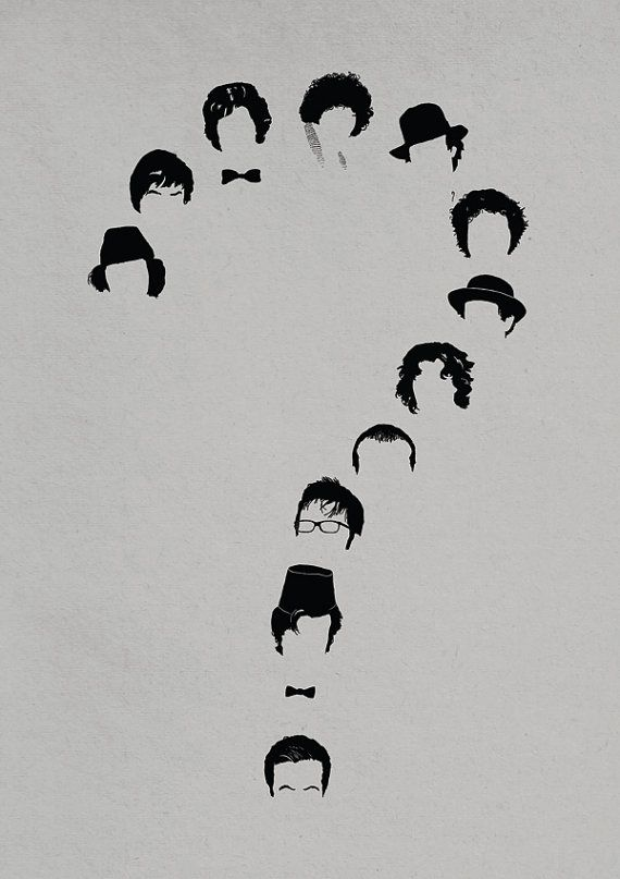 Doctor Who print - Who - Dr Who inspired A4 Black White Grey small art poster 12 Doctors