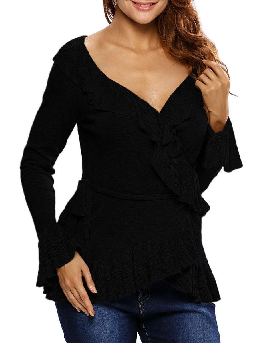 #AdoreWe #JustFashionNow Sweaters - Designer dear-lover Wrap Yourself In Gray Ruffled Sweater - AdoreWe.com