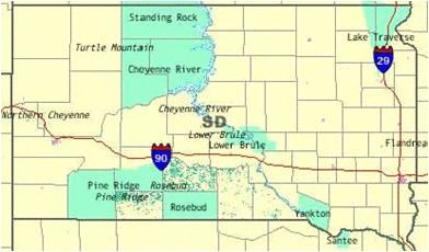 Map of South Dakota that shows the locations and sizes of