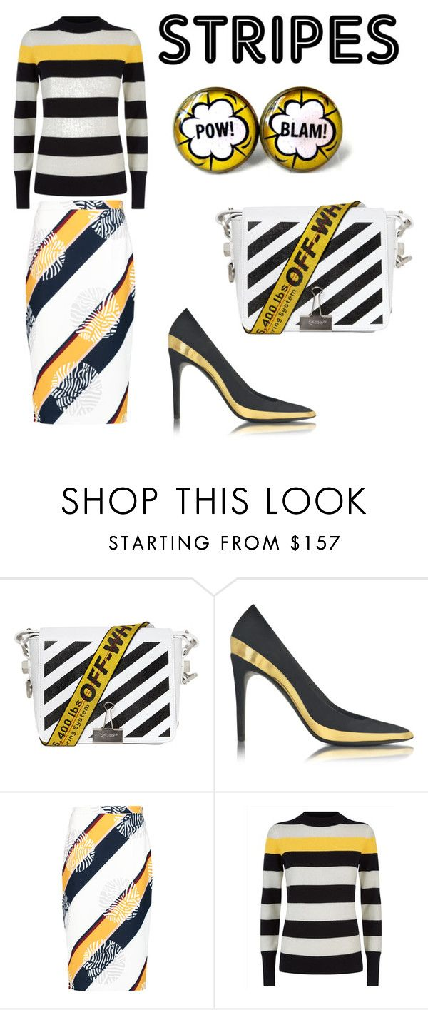 """""""warning stripes"""" by kseniakul ❤ liked on Polyvore featuring Off-White, Balmain, Raoul and Jaeger"""