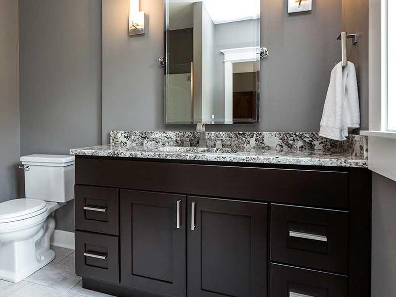 Bathroom Projects Custom Granite Stone Dark Cabinets Diy Shelf Decor