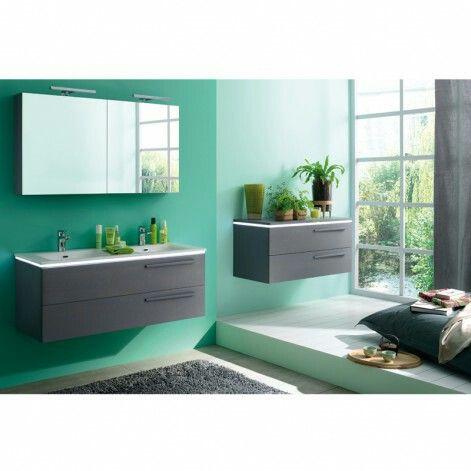 Salle de bain grise et vert d\'eau | aménagement maison | Salle de ...