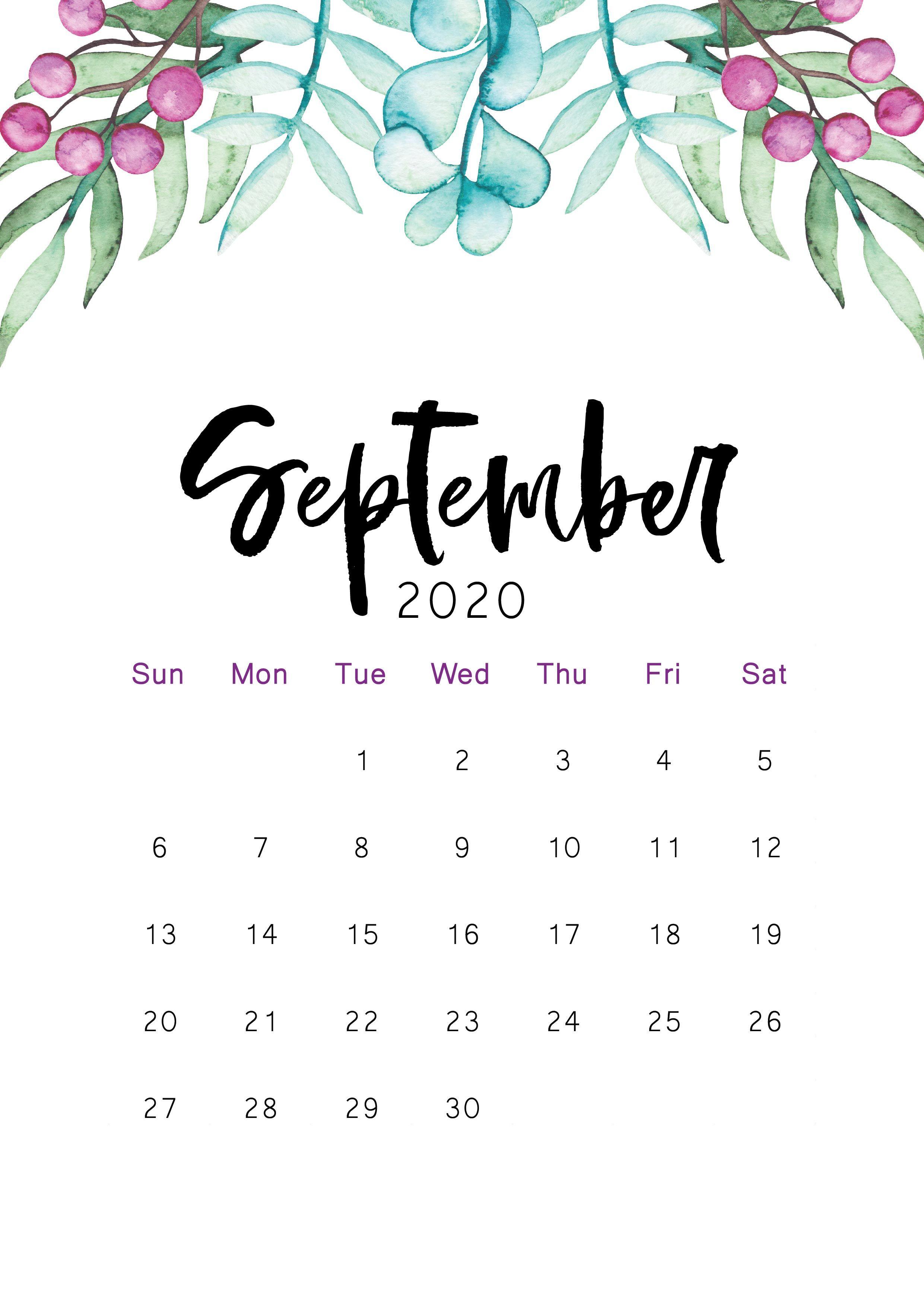September 2020 Printable Calendar Kartu Gambar Wallpaper Ponsel