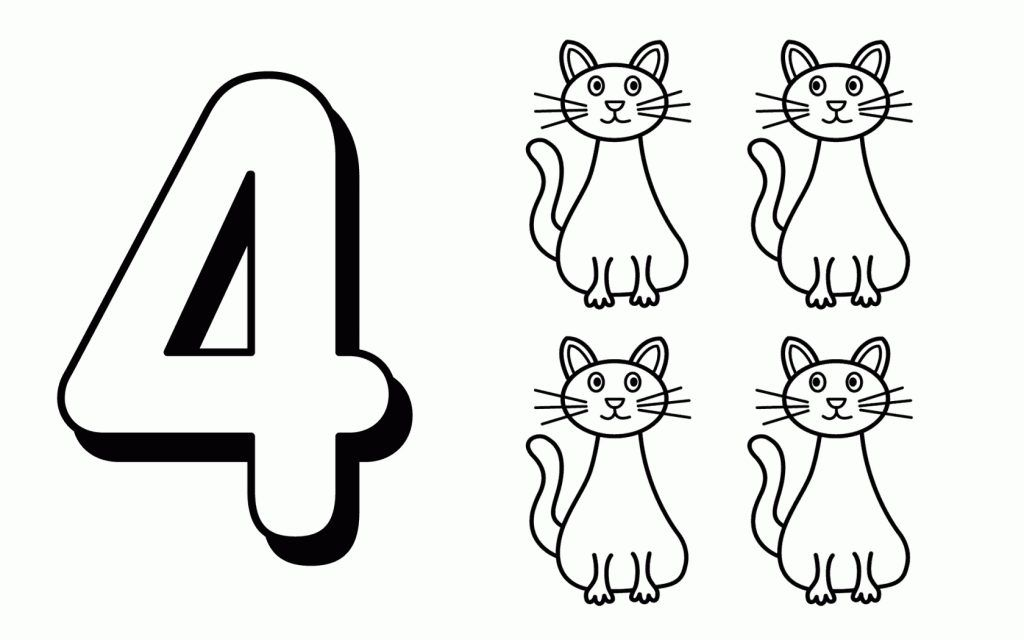 Color The Number 4 Coloring Page Twisty Noodle Numbers