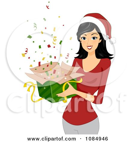 clipart christmas woman holding a gift box of confetti royalty rh pinterest com Victorian Christmas Clip Art Women Happy Black Woman