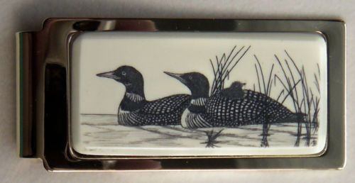 Money Clip Barlow Photo Reproduction in Color Wood Ducks Hinged 526125c NEW